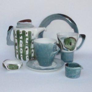 Kaffeset, Kaffeekanne, Kaffe und Tee, Blattgrün Olive